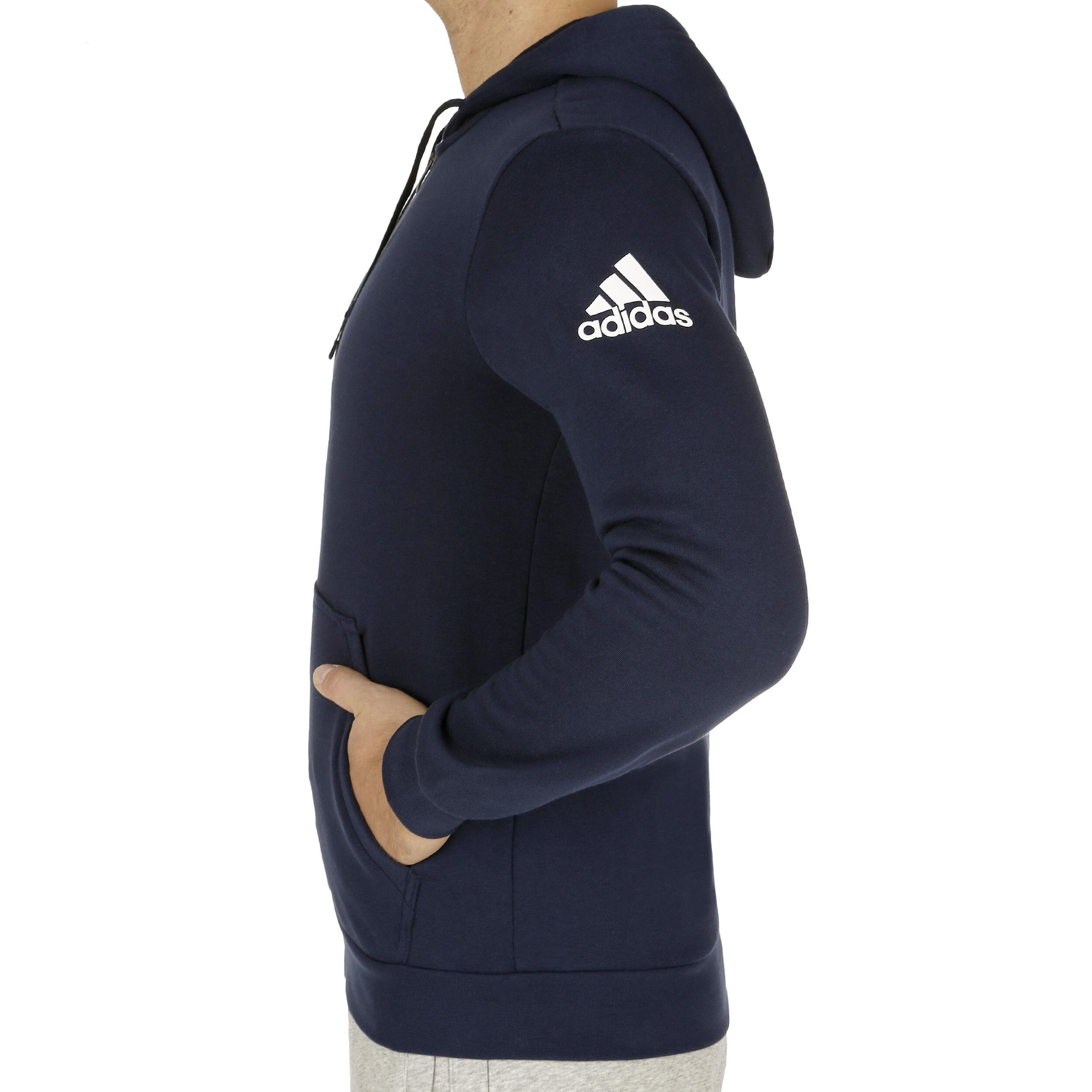 adidas Essentials Base Hood Fleece Sweatjacke Herren Dunkelblau, Weiß