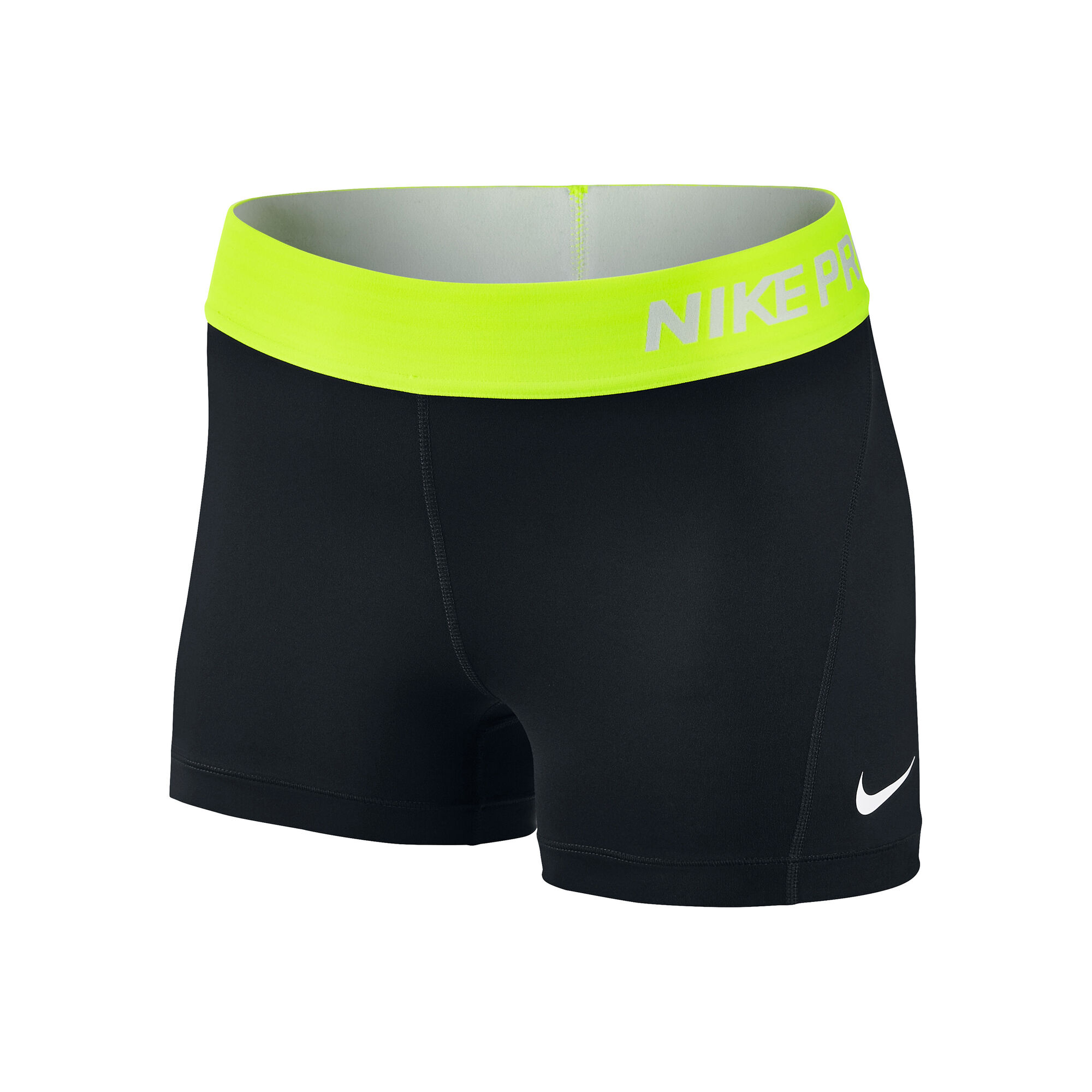 nike pro dry fit 3 shorts damen schwarz neongelb. Black Bedroom Furniture Sets. Home Design Ideas