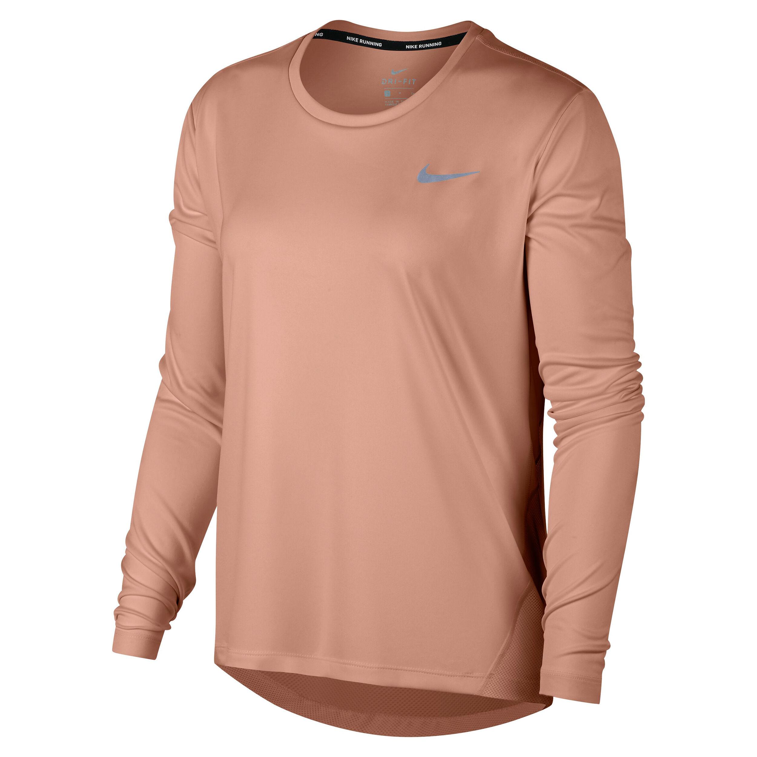 Nike Miler Longsleeve Damen Rosa, Silber