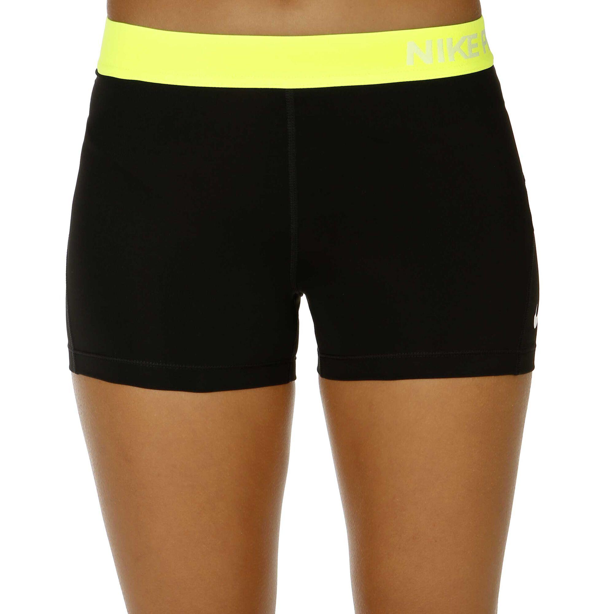nike pro dry fit 3 shorts damen schwarz neongelb. Black Bedroom Furniture Sets. Home Design Ideas